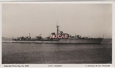 """Royal Navy Real Photo RPPC. HMS """"Solebay"""" Battle-class destroyer. Completed 1945"""