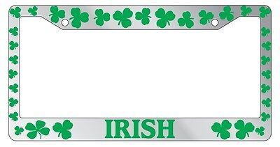 Irish Chrome License Plate Frame (Chrome License Plate Frame Shamrocks Irish Green Auto Accessory Novelty)