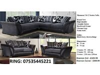 couch 3+2 settee or corner shannon black/grey sofa / sofas / suite delivery sat call us now