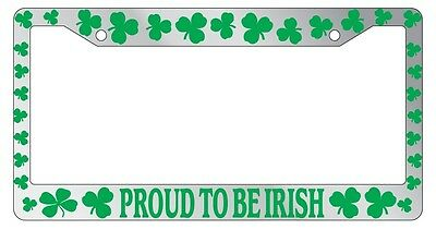 Irish Chrome License Plate Frame (Chrome METAL License Plate Frame PROUD TO BE IRISH (GREEN) SHAMMROCKS)