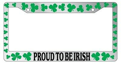 Irish Chrome License Plate Frame (Chrome License Plate Frame Shamrocks Proud To Be Irish Auto Accessory Novelty)