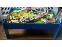 Kids Wooden Table with Train/Car Set