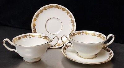 Cream Soup Bowl Sets - (2) WEDGWOOD WHITEHALL W4001 FOOTED CREAM SOUP BOWL & SAUCER SETS More Available