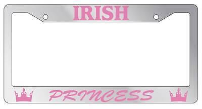Irish Chrome License Plate Frame (Chrome METAL License Plate Frame IRISH PRINCESS Auto Accessory)