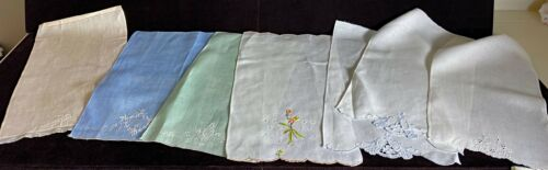 Lot of 8 Vintage Antique Linen Hand Embroidered Towels  WW78