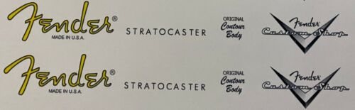 Stratocaster and custom shop headstock logo waterslide decal X 2