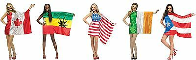 Flag Dress USA PUERTO RICO JAMAICA IRELAND CANADA UK Jamaican Rasta Irish Womens - Rasta Woman Costume