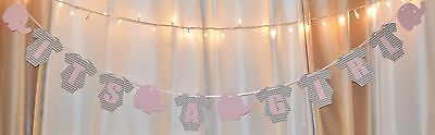 its a girl baby shower chevron clothing elephant theme pink/grey hanging banner - Pink Elephant Baby Shower Theme