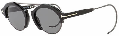 Tom Ford Round Sunglasses TF631 Farrah-02 01A Shiny Black 49mm FT0631