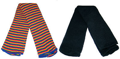 Rainbow and Black Leg Warmers New Fine Gauge MADE IN USA NICE! FREE S/H