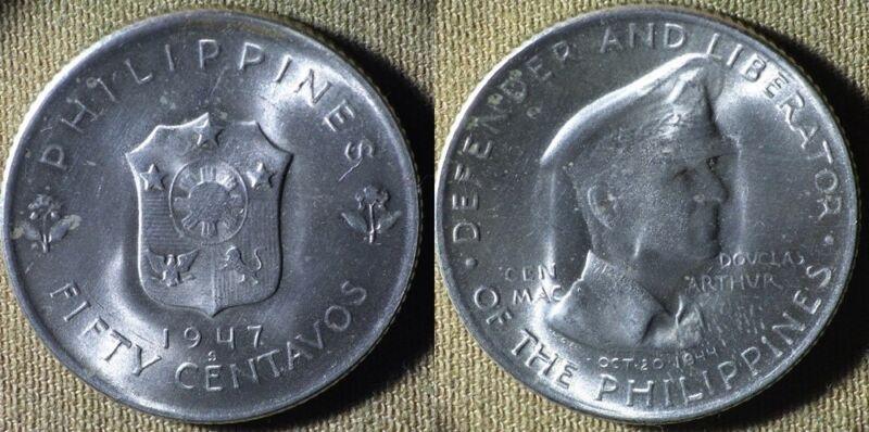 Philippines : 1947S 1/2 Dol. Gem BU  #184  IR5060