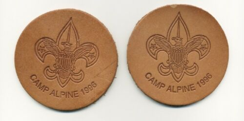 Camp Alpine 1996 Boy Scout Leather Coasters - set of 2