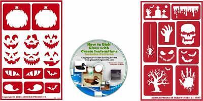 Halloween Stencils: 2 Pack Reusable Adhesive: Jack O' Lantern Faces, Bats, - Halloween Skull Stencils