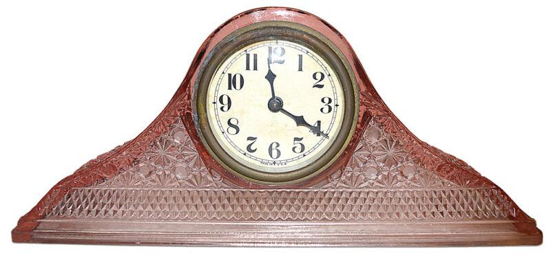McKee Daisy & Button PInk Tambour Art Glass Mantel Clock