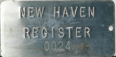 Vintage New Haven Register Metal Plate     0024  New Haven Connecticut