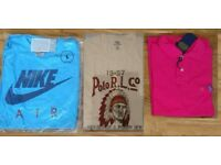 Mens Ralph Lauren Polo's T shirts Top authentic tags labels Blue Pink Black Large nike adidas airmax