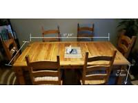 Mexican Pine Table & 6 Chairs