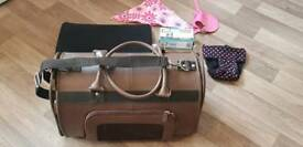 P.U. Leather Small Pet Carrier, suitable Yorkshire Terrier size, plus extras shown... never used.