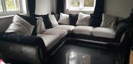 Silver and black velvet corner sofa