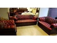 Beautiful 3pieces set ox blood red lather Chesterfield, 3+2+1setter, Excellent condition