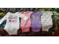 Newborn Baby Girl 4 Bodysuits!