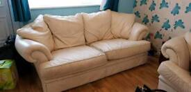 *FREE* 2 x Cream Leather 3 Seater Sofas