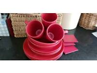 Set of Red Plates / Bowls /Cups & Placemats
