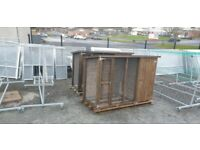 Wooden dog kennel with roofed side pen