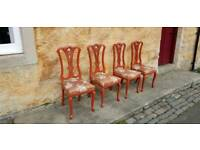 4 Vintage Old Medieval Steampunk Gothic Victorian Dining Chairs Quirky Country
