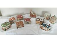 Vintage Christmas Village with Ten Collectible Houses and a Church by Dickens of London