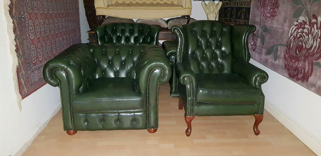 Lovely Green Leather High Quality Chesterfield Club Chair And Bage Quinn Anne Armchair