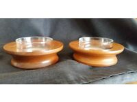 Pair of wooden candle or large tealight stands
