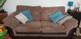 2 x brown 3-seater sofa including sofa bed