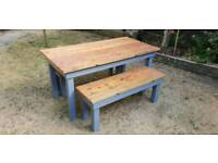 Rustic solid timber dining table and benches