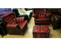 Beautiful 3pieces set ox blood red lather Chesterfield high bage armchair, Excellent condition