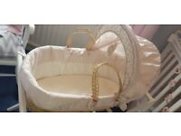 Millie and Borris pink Moses basket