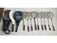 Collection of what appear to be 12 vintage Tennis Racquets and Badminton Racquets