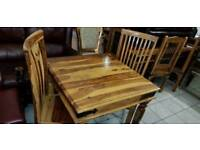 Lovely mango wood dining table and 2 high bage chairs