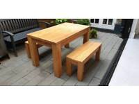 Solid oak kitchen table and 2 benches