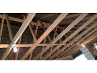 Roof trusses. Garage pitched