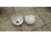 2 ceramic hanging bowls for plants