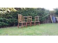 5 Vintage Church Chairs Oak Rattan Rustic Farmhouse Chic