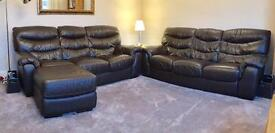 Pair of soft Leather Sofas (brown)