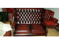 Beautiful ox blood red lather Chesterfield 2setter high bage Quinn Anne armchair.