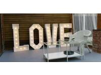 💖 Light Up 4ft LOVE Letters for hire in Cheshire Wedding Engagement