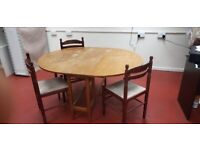 Foldable dinning table with 3 chairs (delivered free)