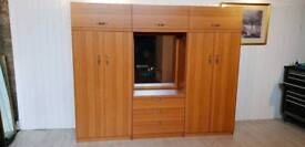 3 Sections Teak Wardrobe with Mirror