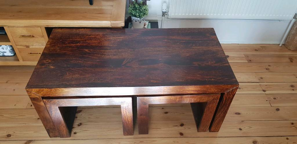 Mango Wood Nest Of Tables Coffee Table And 2 Side Tables Gone Pending Pickup In Southside Glasgow Gumtree