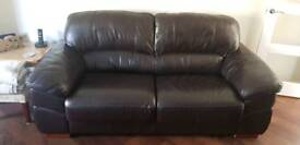 Brown leather couch and chairs