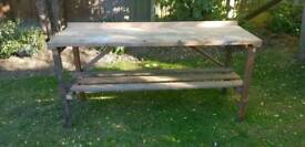 Shed, garage or green house bench with folding legs